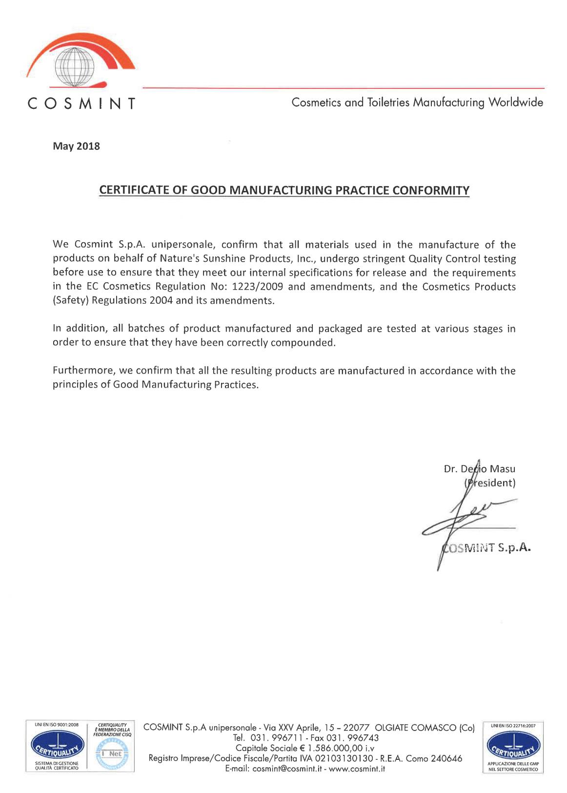 Сертификат соответствия стандартам надлежащей производственной практики